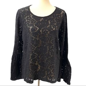 Chico's Black Crochet Lace Bell Sleeve Top